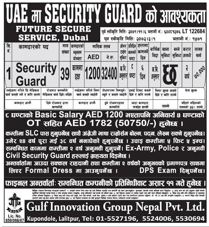 Security Guard Job Vacancy in UAE.  Salary Rs 32,400