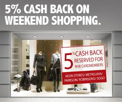 48 SMART: RHB 5% Cash Back on Weekend Shopping