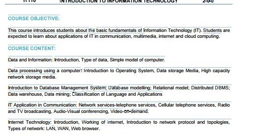 RGPV Introduction To Information Technology Syllabus CBCS