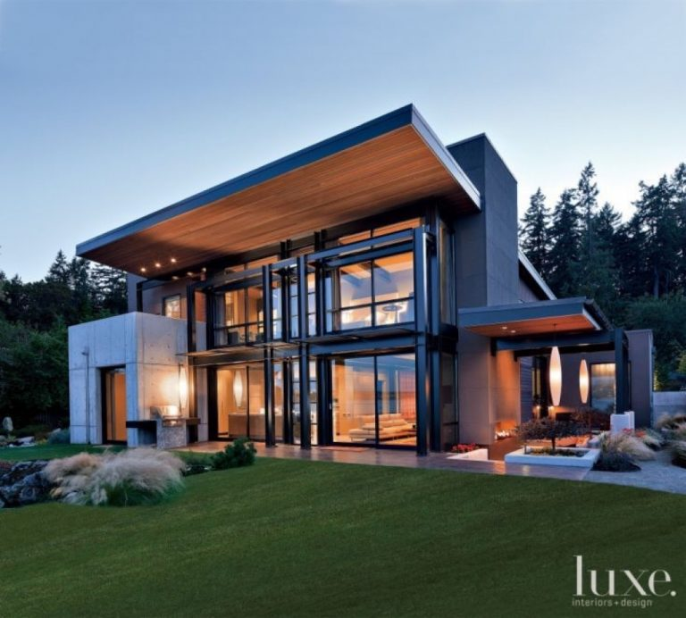 Modern Gray Exterior With Steel Beams: THOUGHTSKOTO