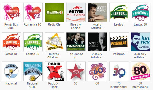 Algunas de las radios disponibles