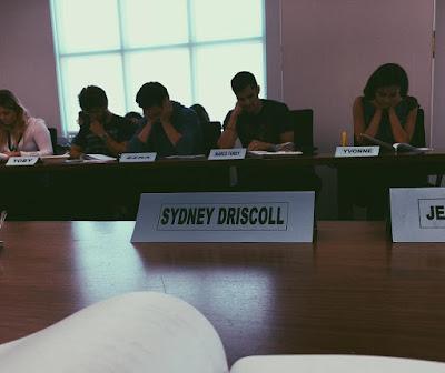 "PLL bts Chloe Bridges (Sydney Driscoll) at table read for 7x10 ""The DArkest Knight"""
