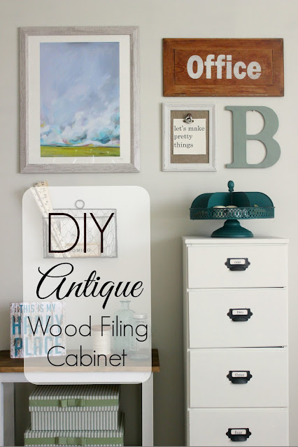 DIY antique wood filing cabinet