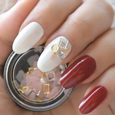 Irregular Shell Fragments Mixed Round Triangular Metal Rhinestone 3D Nail Decoration #43771