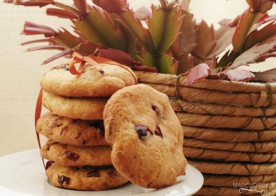 Cookies aux pépites de chocolat blanc et aux cranberries