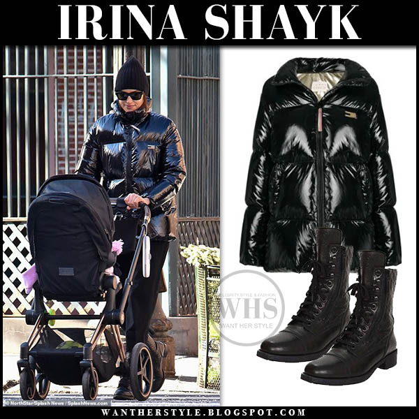 Irina Shayk in black shinny tommy hilfiger puffer jacket and black combat boots casual winter style january 13