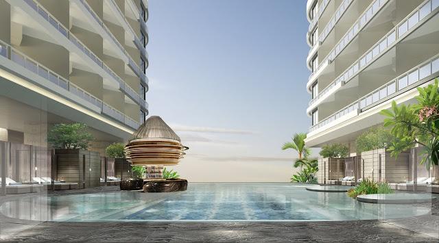Bể bơi nhìn toàn cảnh biển dự án căn hộ laluna resort nha trang hotline 0896 356 386