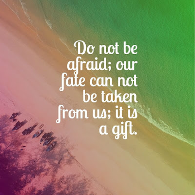 Do not be afraid; our fate can not be taken from us; it is a gift. life quotes