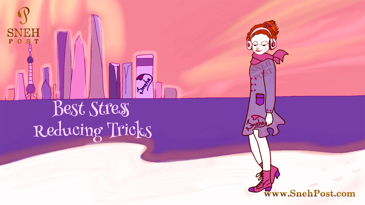 Stress reducing tricks: 20 highbrow redeemers cartoon illustration of music listening anime girl by Sneha Upadhyaya