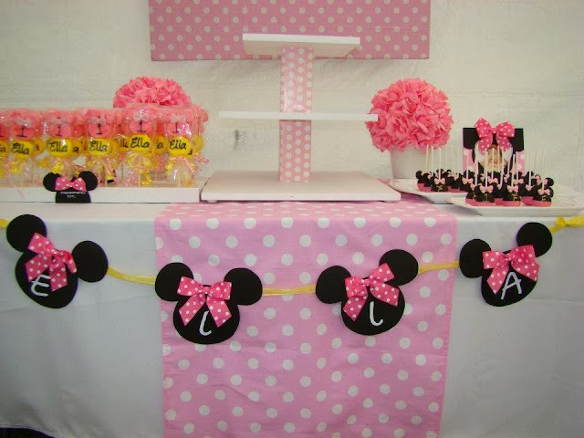 pink minnie mouse baby shower inspiration dessert table