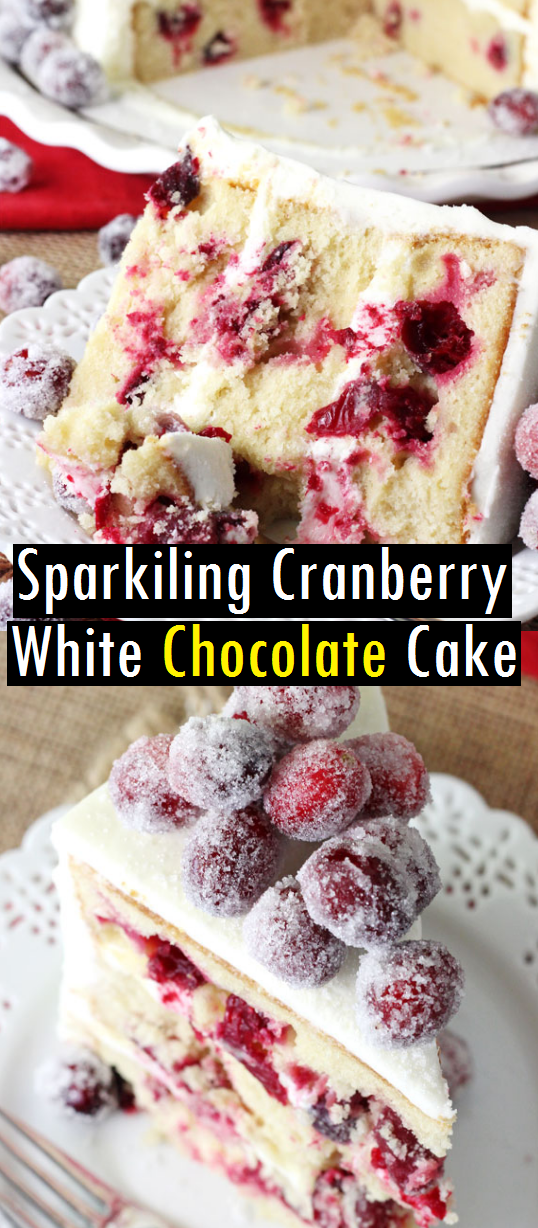 The Sparkiling Cranberry White Chocolate Cake Recipe is no doubt a new favorite – especially for Christmas! The cake is incredibly moist and flavorful and the cranberries add the prefect burst of fruity flavor. #sparkiling #cranberry #whitechocolate #chocolate #chocolatecake #cake #cakerecipe #bestcakerecipe #dessert