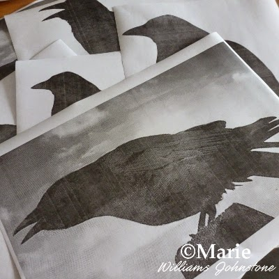 Printed sheets featuring black bird designs