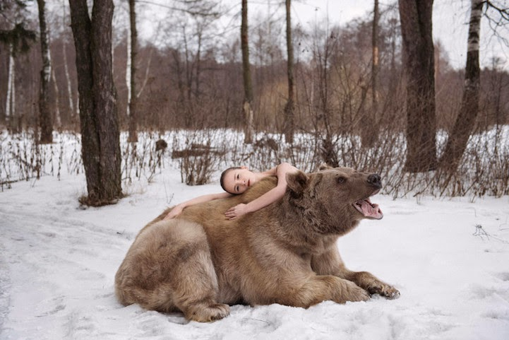 Russian model posing with real bear-3