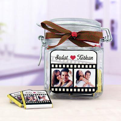 Sevgililere Özel Film Şeridi Çikolata Kavanozu