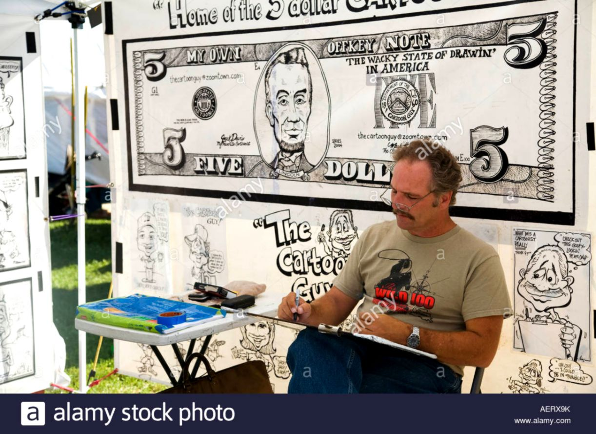 ILLINOIS Grayslake Caricature artist at Lake County Fair draw with