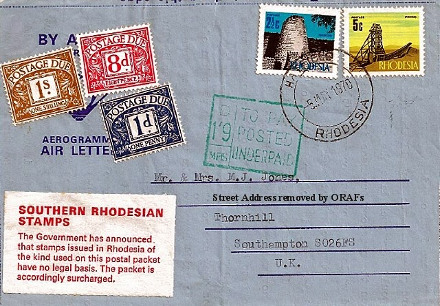 Our Rhodesian Heritage Southern Stamps To The UK