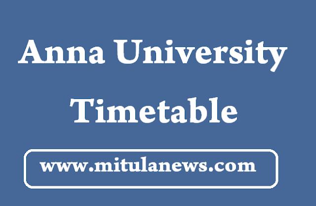 Anna University Nov Dec 2016 Time Table