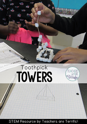 STEM Challenge: Using two materials students build a tower. They also must use a blueprint!