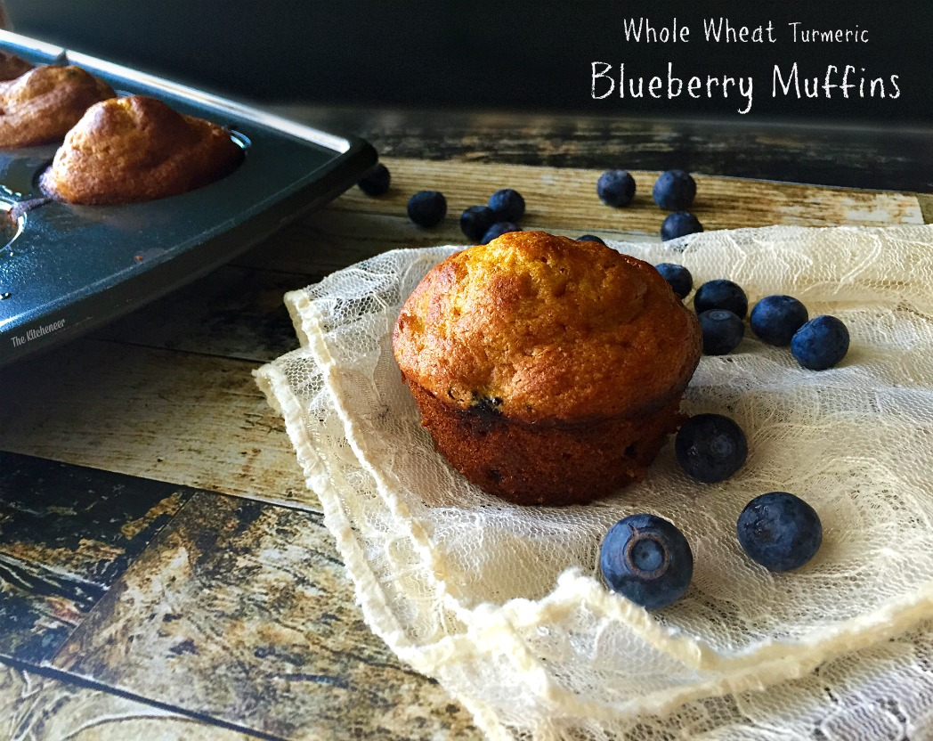 Whole Wheat Turmeric Blueberry Muffins by The Kitcheneer