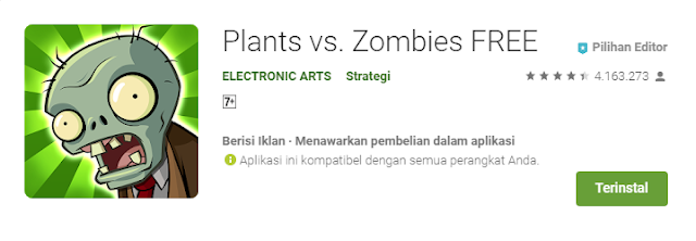 Game Strategi Android Terbaik Plant vs Zombie