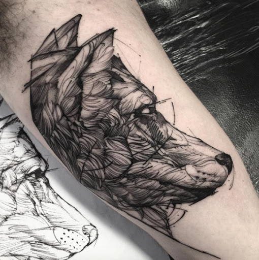 Lobo Esboço De Tatuagem
