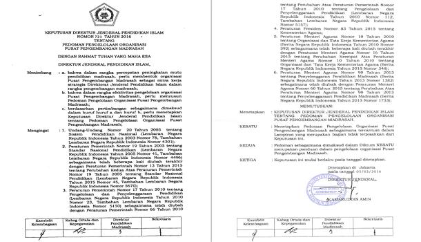 SK Ditjen Pendis Nomor 721 Tahun 2016 Tentang Pedoman Pengelolaan Organisasi Pusat Pengembangan Madrasah