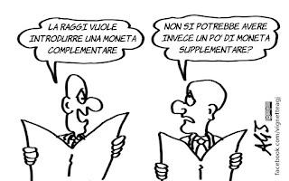 roma, raggi, euro, moneta complementare, economia, vignetta, satira