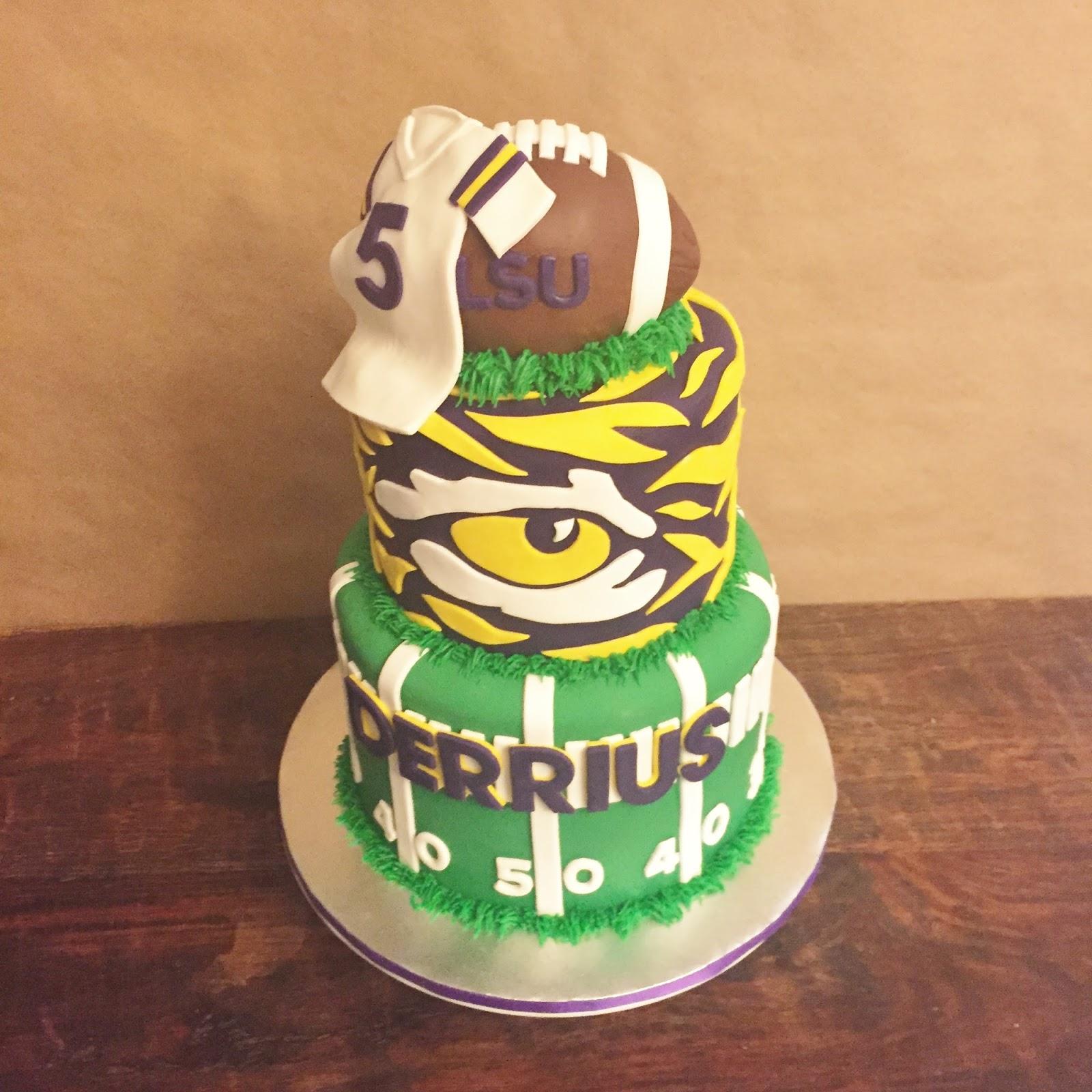 Wondrous Cakes By Mindy Lsu Tigers Football Cake 6 8 Personalised Birthday Cards Veneteletsinfo
