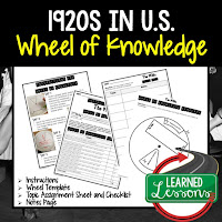 1920s,  Progressive Era, American History Activity, American History Interactive Notebook, American History Wheel of Knowledge
