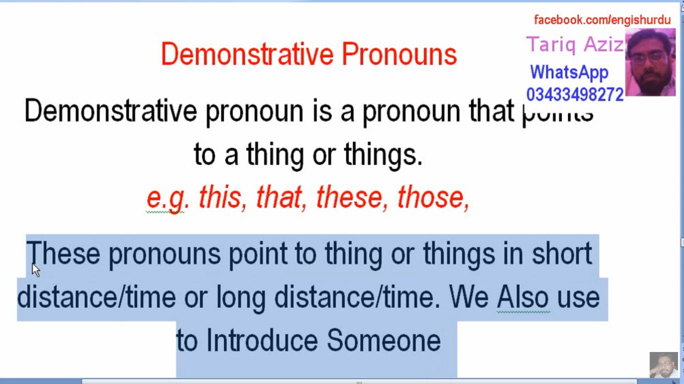 Grammar Lesson Nine Demonstrative Pronouns