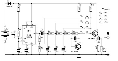 Signal Generator with 555 Wiring diagram Schematic
