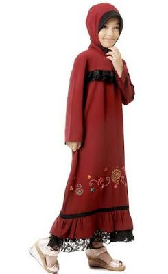 Baju anak perempuan muslim terusan panjang menawan