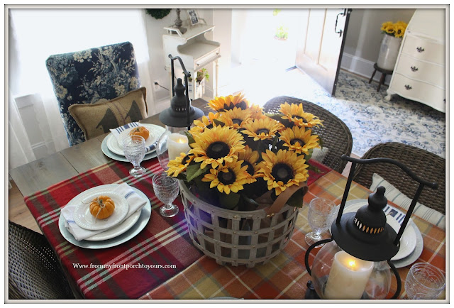 French Farmhouse Style Fall Dining Room-Basket of Sunflowers-Tablesetting with Pumpkins-From My Front Porch To Yours