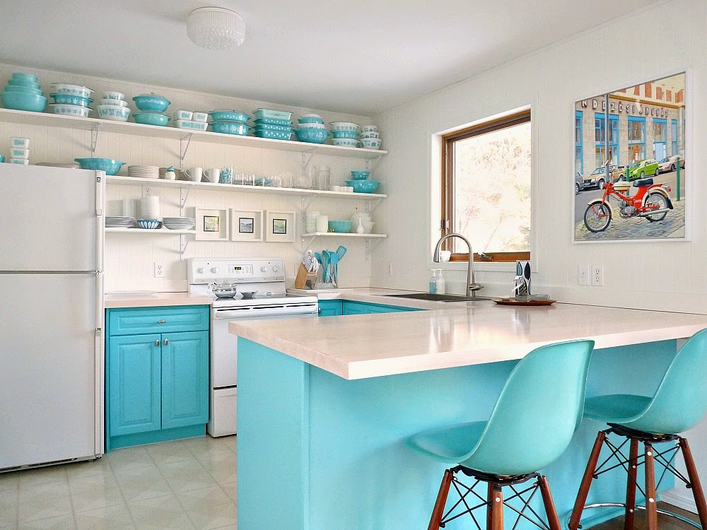 Vintage Inspired Aqua Kitchen