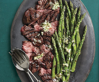 Grilled Flap Steak and Asparagus with Béarnaise Butter