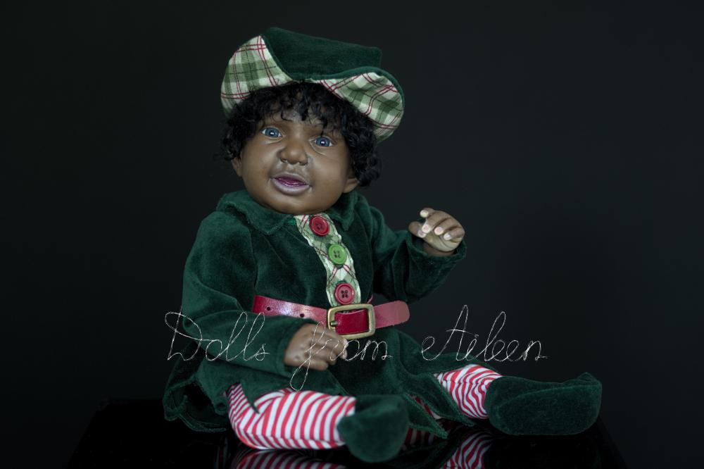 ooak Christmas elf art doll posing for camera