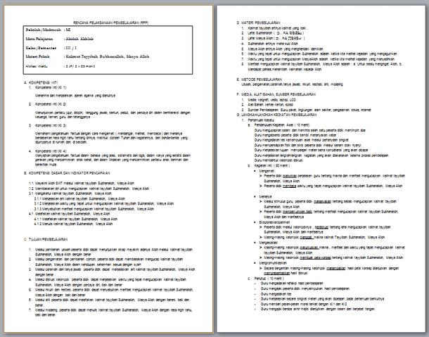 RPP Silabus Promes PAI Kelas 3 MI Kurikulum 2013 Revisi 2017-2018