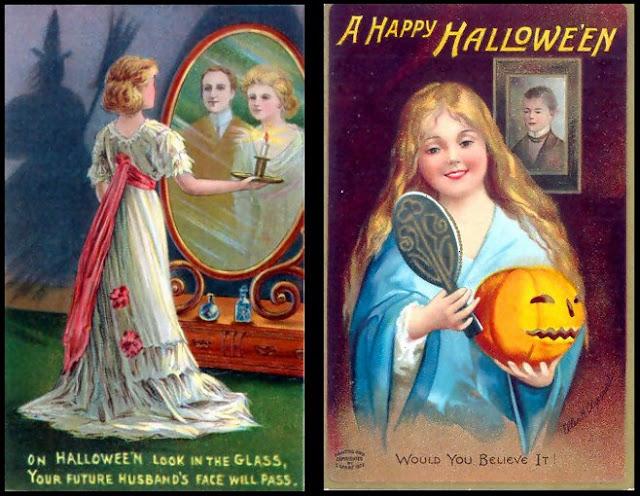 Halloween Catoptromancy game, vintage, Victorian Halloween