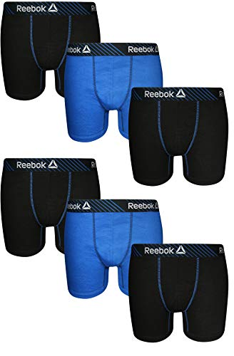 e81c6634ee4ed Reebok Men's 6 Pack Cotton Boxer Briefs (No Fly), Black/Blue/Black, Large  2019