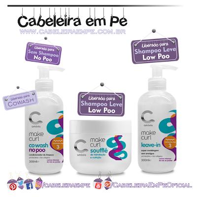 Linha Cachos Tipo 3 Make Curl - Amávia (Cowash liberado para No Poo, Leave In Cachos e Soufflé Hidratante E Nutritivo liberados para Low Poo)