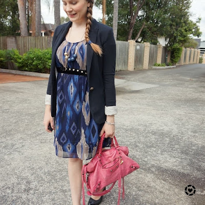 awayfromblue isntagram navy ikat print dress with black blazer and accessories and pink bag