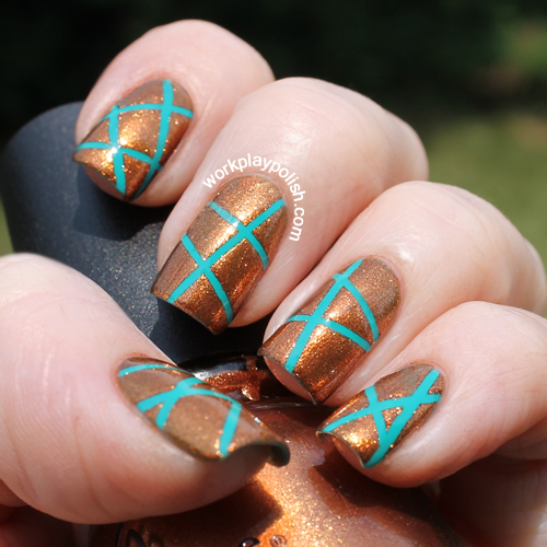 China Glaze Harvest Moon and Butter London Slapper Tape Mani