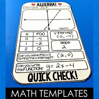 free math templates including this algebra warm up template