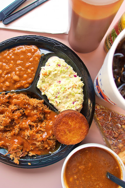 Pork Plate, Brunswick Stew and Pecan Pie from Byron's Smokehouse - Auburn, Alabama