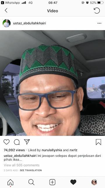 Ustaz Abdullah Khairi  response Status Halal Meatball Kottbullar IKEA