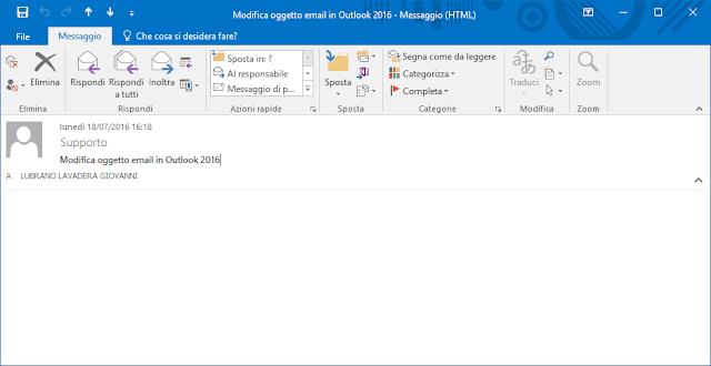 Outlook 2016, Intestazione estesa