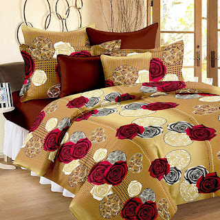 120 TC Vivid Roses Cotton Double Bedsheet with 2 Pillow Covers - Cream