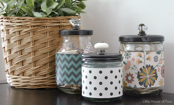 Turn ordinary recycled glass jars into the perfect stylish storage. ~ Littlehouseoffour.com