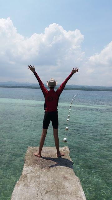 Jonathan enjoying his freedom at Campalabo sandbar