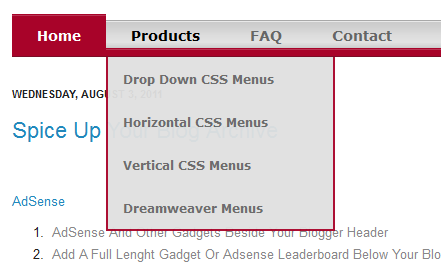 drop down menu blogger